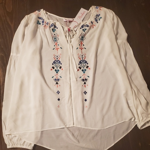 Parker Tops - Parker white embroidered top